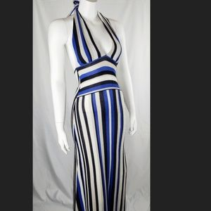 Alice + Olivia Halter Maxi Dress Blue White Stripe